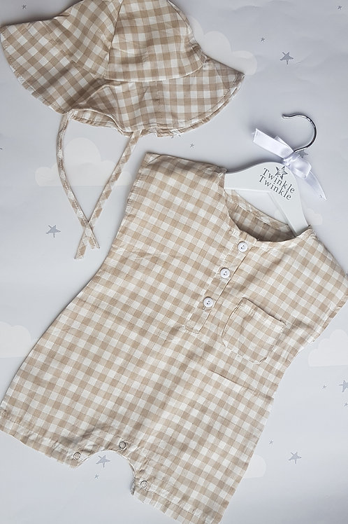 Beige Check Romper and Hat