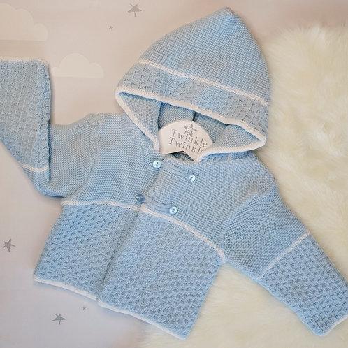 Knitted pram coat blue