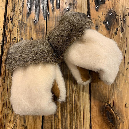 Ivory sealskin boxer mitts by Miranda Amos