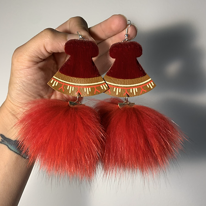 Uluk earrings with dyed arctic fox fur by Yaya Inspirations