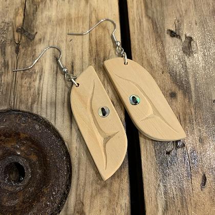 Yellow cedar & abalone earrings by Blake Shaá'koon Lepine