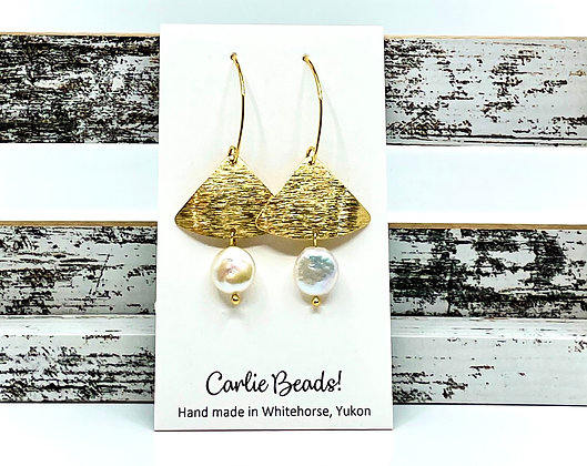 Pearl & Brass dangles by Carlie Beads
