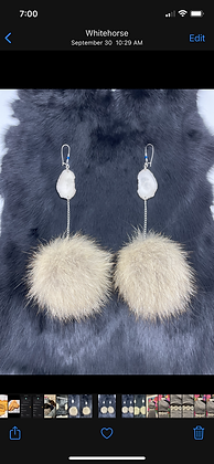 Wolf pom & antler statement earrings by Erin Profeit