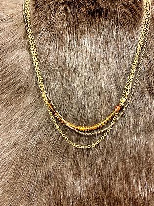 Multi strand brass necklace by Carlie Beads