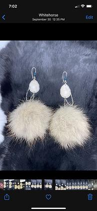 Chandelier wolf pom & antler statement earrings by Erin Profeit