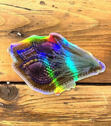 Giant holographic Crocus sticker by Vashti Etzel, Golden Eye Designs