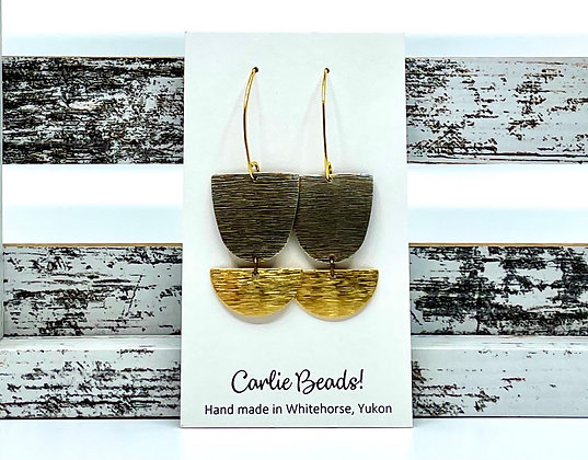 Textured brass dangles by Carlie Beads
