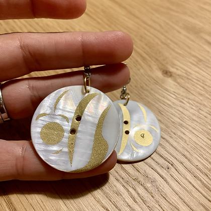 Gold Leaf Button earrings by Blake Shaá'koon Lepine