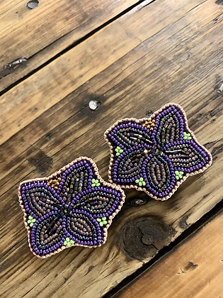 Gwich'in floral studs by Sharon Vittrekwa