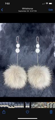 Wolf pom & double antler statement earrings by Erin Profeit