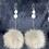 Thumbnail: Wolf pom & double antler statement earrings by Erin Profeit