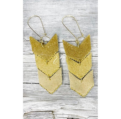 Elk & gold chevron dangles by Métis North