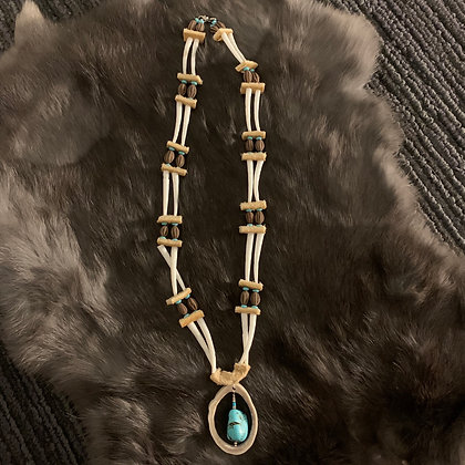 Dentalium shell & turquoise necklace by Sharon Vittrekwa