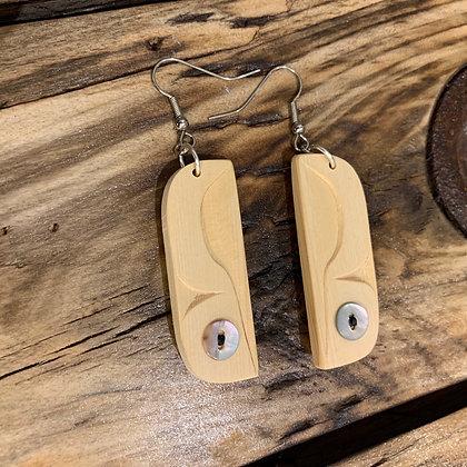 Yellow cedar & akoya button earrings by Blake Shaá'koon Lepine