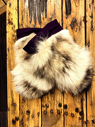 Wolf fur & leather gauntlet mitts by Rebecca Pokiak
