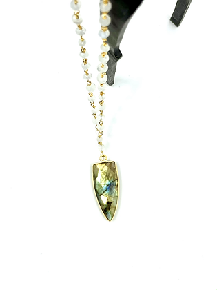 Labradorite and moonstone necklace by Yukon Bliss