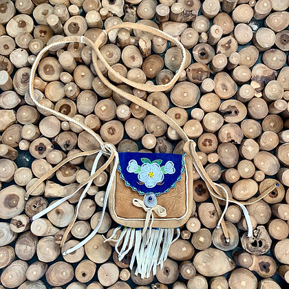 Gwich'in Blossoms smoked hide & beaded purse by Sharon Vittrekwa