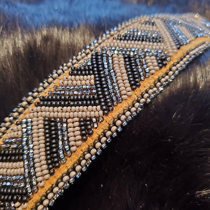 Beaded smoked hide cuff by Copper Caribou - grey