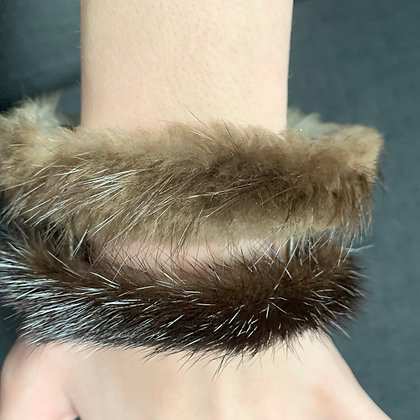 Shelley MacDonald mink and beaver sterling cuff