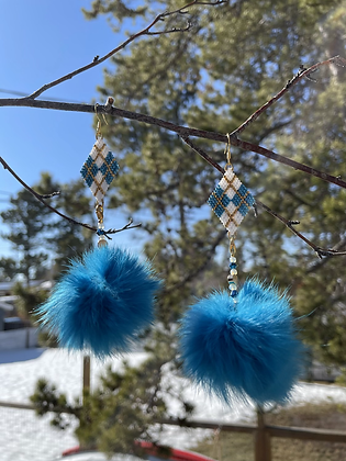 Plaid delica & fur pom dangles by Janelle Hager