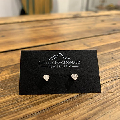 Stirling silver heart studs by Shelley MacDonald - brushed