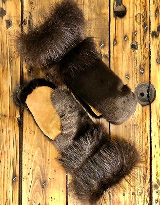 Sealskin & beaver gauntlet mitts by Miranda Amos