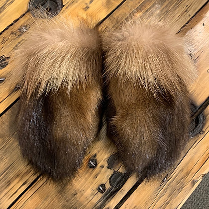 Muskrat & wolverine boxer mitts by Miranda Amos