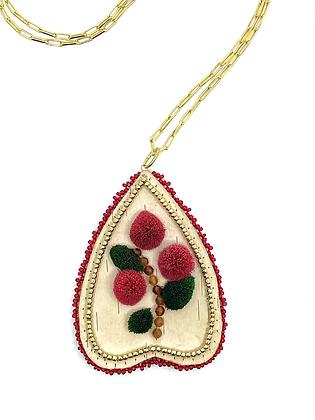 """""""Ītl'ét"""" Cranberries pendant by Vashti Etzel, Golden Eye Designs"""