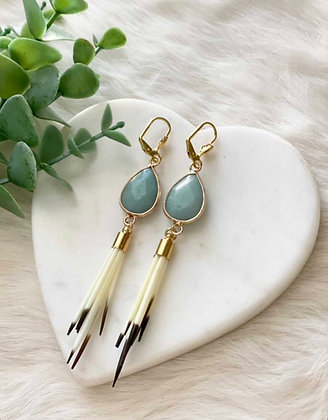 Amazonite & quill drops by Golden Willow Co.