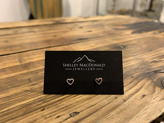 Stirling silver heart studs by Shelley MacDonald- small