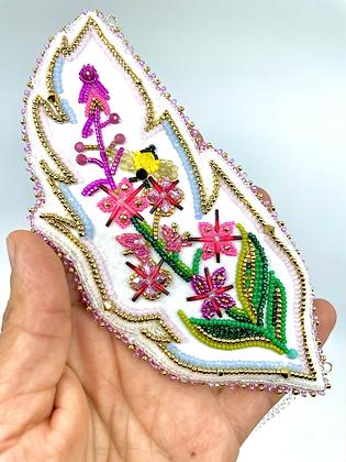"""Gų̄s"" fireweed necklace by Vashti Etzel, Golden Eye Designs"