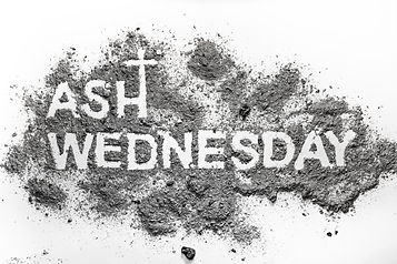 Ash wednesday word written in ash and ch