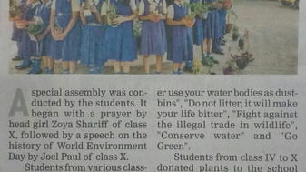 TOI Newspaper in Education: World Environment Day celebrated through a Special Assembly