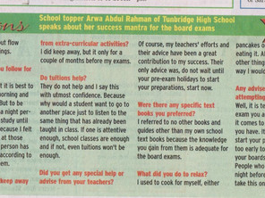 TOI Newspaper in Education: School topper Arwa Abdul Rahman speaks about her mantra for success