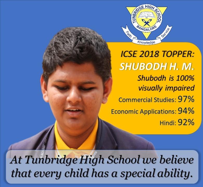 Shubodh H.M. ICSE 2018 Topper
