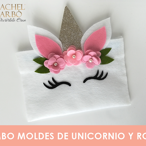 COMBO DE MOLDES DE UNICORNIO Y ROSAS