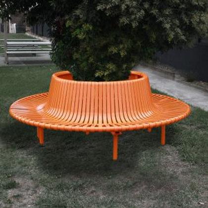 Semi-Circular Seat Steel Slatted Seat with Back