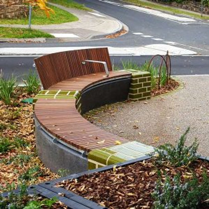 Wandin Concave Curved Timber Seat with Back