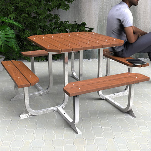 Square 4 Sided Picnic Table