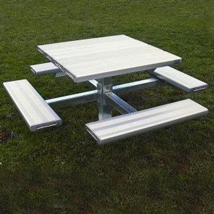 Four Sided Pedestal Picnic Table Aluminium
