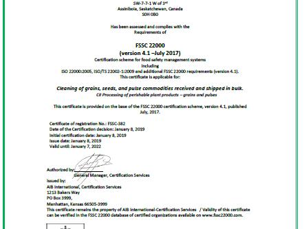 Global Food Safety (FSSC 22000) Certified