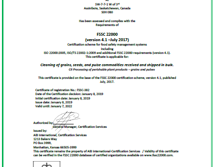 Global Food Safety (FSSC 22000) Certified