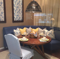 Custom Round Dining Table, Custom Curved Banquette and Slipcovered Dining Chairs