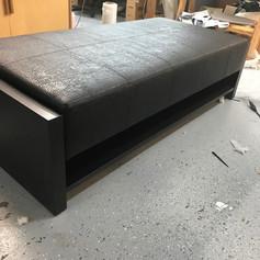 Wood Framed Leather Bench
