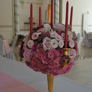 Chandelier fleurs roses