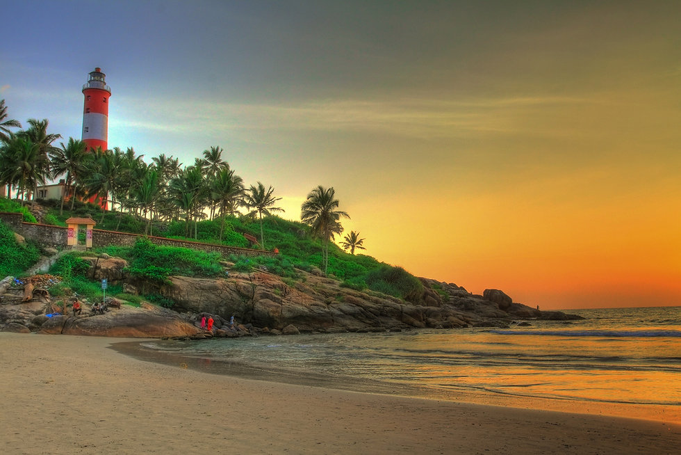 Kovalam beach - Tempo - traveler - Tempotraveler rental - Kerala tourism taxi service