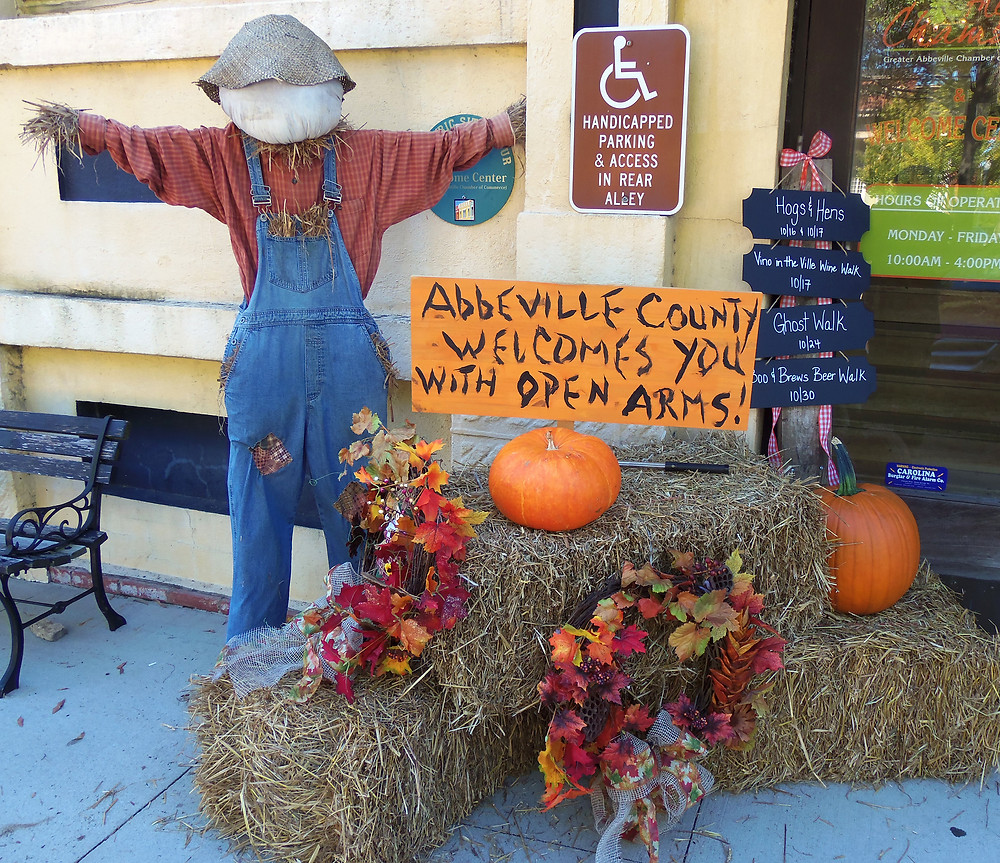 Autumn display outside the Abbeville Welcome Center