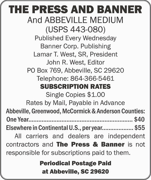 Press and Banner newspaper subscription rates
