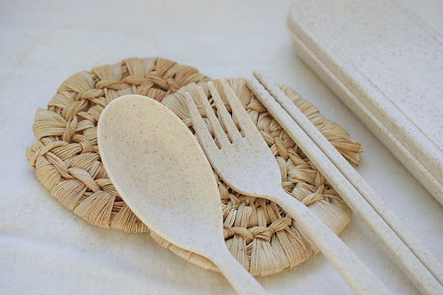 Reusable Wheat Straw Cutlery Set