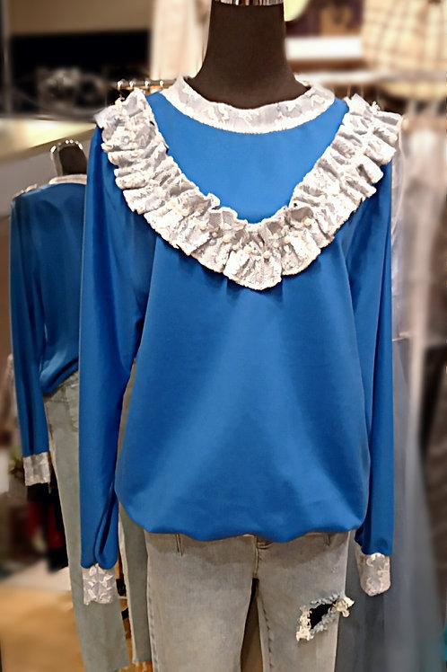 Unisex royal blue long sleeves loop top